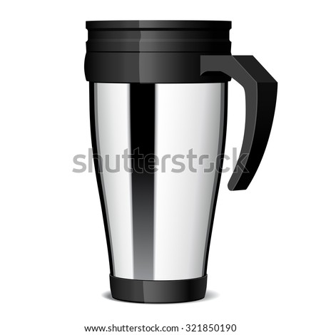 Shiny Metal travel thermo cup  - stock photo