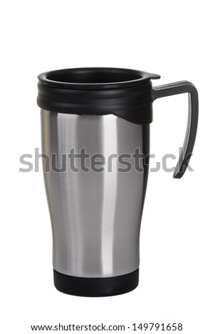 Shiny Metal travel thermo-cup on a white background - stock photo