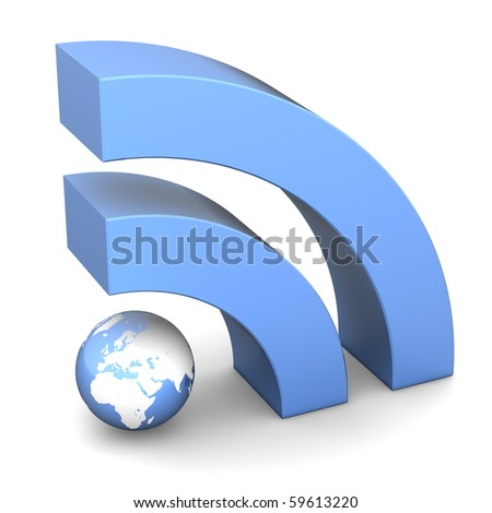 shiny metallic blue RSS symbol rendered in 3D on white ground
