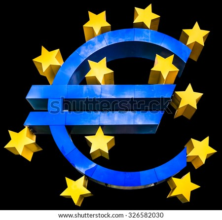 Shiny metallic 3D Euro sign symbol in blue color with golden stars isolated on dark black background - stock photo