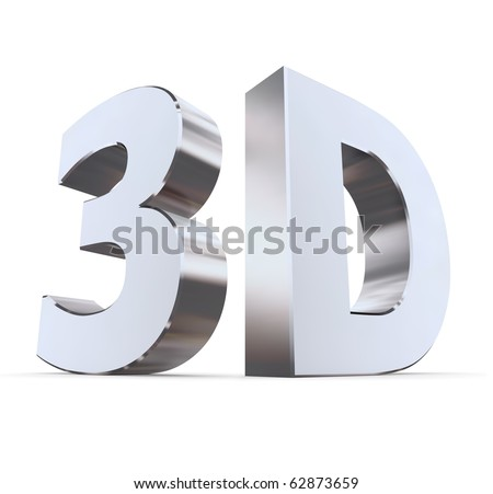 shiny metallic 3d word 3D made of silver/chrome - characters at right angles - stock photo
