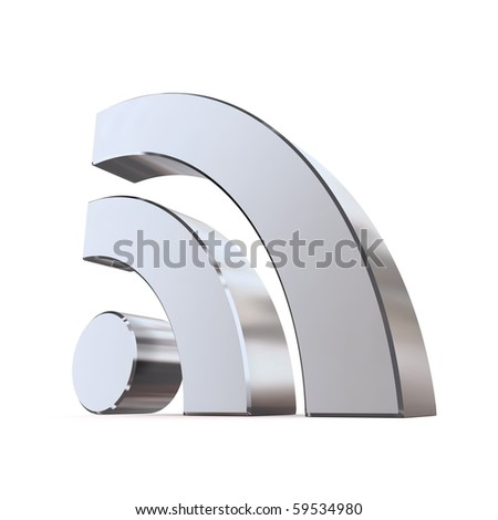 shiny metallic RSS symbol rendered in 3D on white ground - stock photo