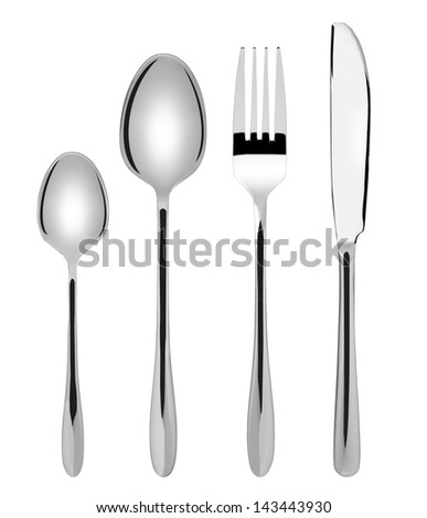 Shiny new cutlery set - spoon, fork and knife flatware, isolated on white background - stock photo