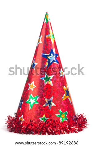 Shiny party hat on white background - stock photo