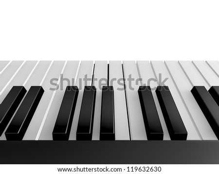 Shiny piano keys on grand piano, back view, isolated on white background.