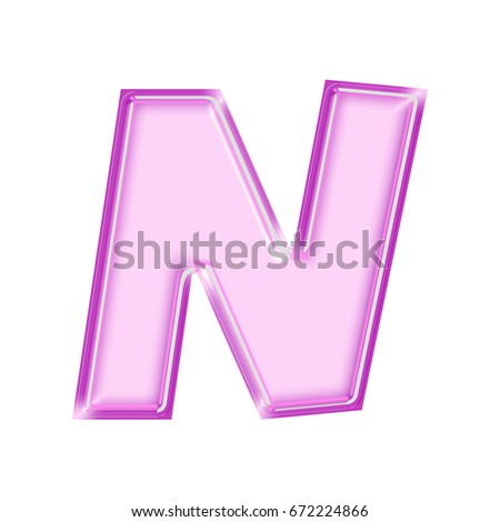 Shiny Pink And Purple Bold Style Uppercase Or Capital Letter N In A 3D Illustration With