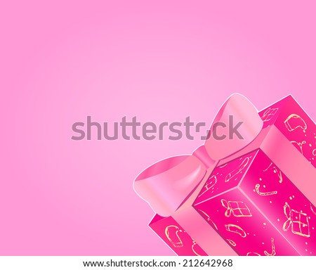 Shiny Pink Gift Box with Bow and Copy Space. Christmas Invitation Card.  New Year Background. - stock photo