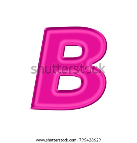 Shiny Plastic Pink Uppercase Or Capital Letter B In A 3D Illustration With Silky Shine