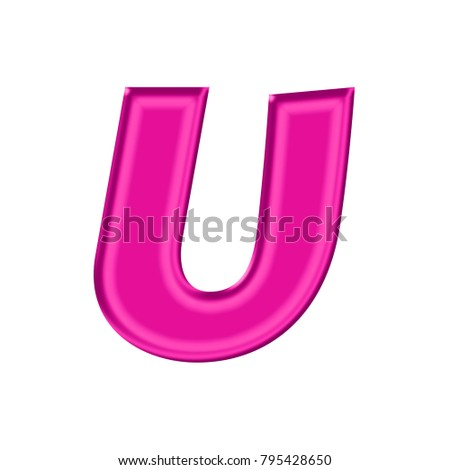 Shiny Plastic Pink Uppercase Or Capital Letter U In A 3D Illustration With Silky Shine