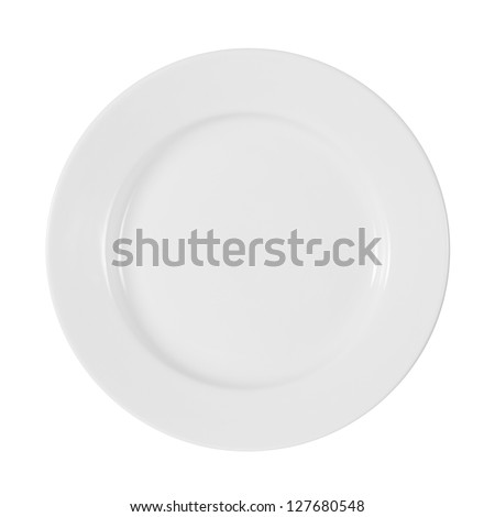 shiny plate isolated on white with clipping path included - stock photo