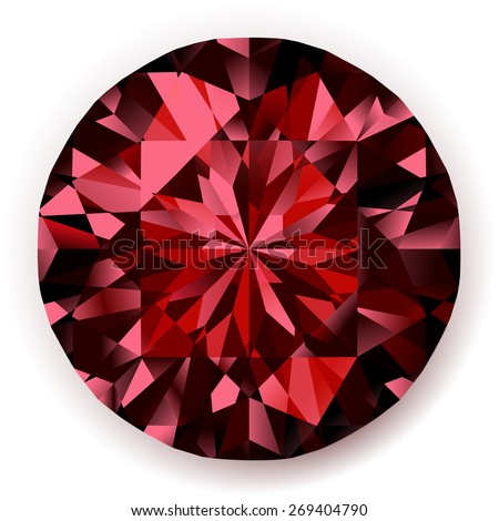 Shiny realistic ruby  on white background  - raster version - stock photo