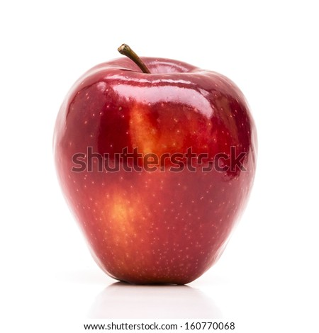 Shiny red apple isolated on white - stock photo