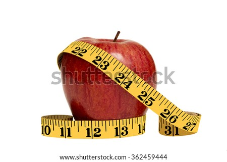 Shiny red apple with yellow tape measure/ Eat Healthy and Lose Weight