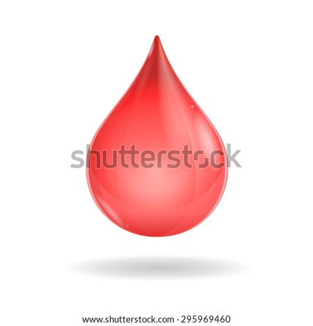 Shiny red blood drop isolated on white background