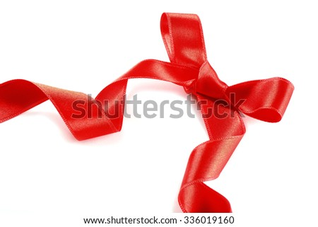 Shiny red bow isolated on white