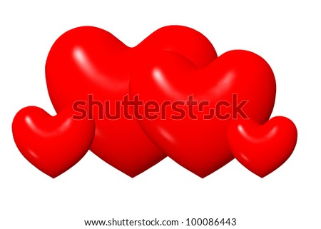 Shiny red cartoon 3D hearts isolated on white background