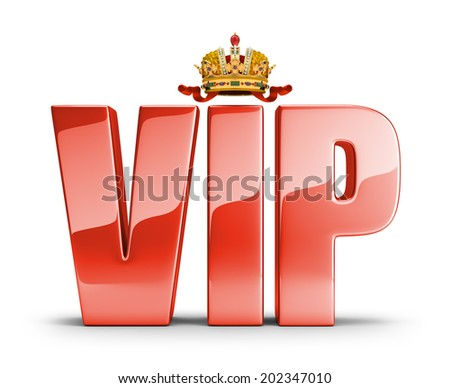 Shiny red lettering at the top of the crown with a VIP. 3d image. White background. - stock photo