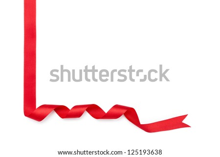 Shiny red ribbon for gift wrapping, isolated on white. Symbol of party and happy holiday - stock photo