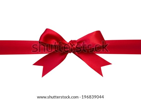 Shiny red ribbon on white background - stock photo