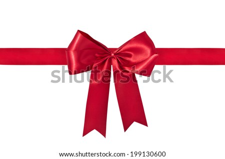 Shiny red ribbon on white background. - stock photo