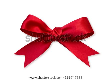 Shiny red ribbon on white background - stock photo