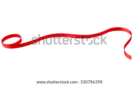 Shiny Red Ribbon on White with Clipping path - stock photo