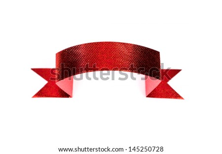 Shiny red ribbon set on white background with copy space. - stock photo