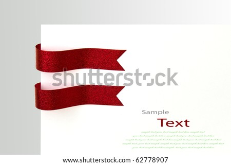 Shiny red ribbons with copy space.