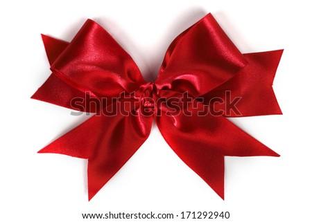 Shiny red satin bow isolated on white background - stock photo