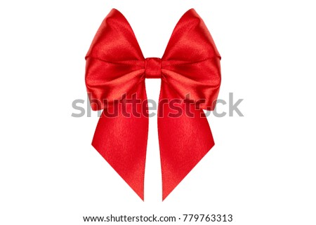Shiny red satin ribbon on white background. studio shot
