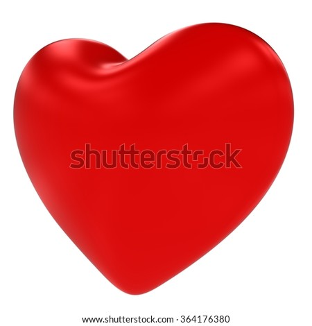 Shiny Red Valentines's Heart Symbol Isolated on White Background