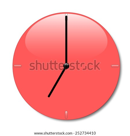Shiny red wall clock with glossy place and with black hands, with shadow on white background - stock photo