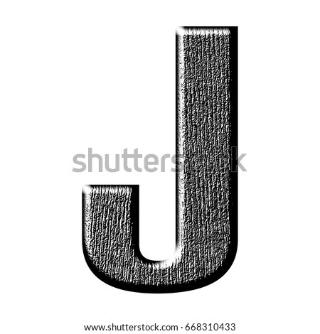Shiny Rough Black Wood Grain Textured Uppercase Or Capital Letter J In A 3D Illustration With