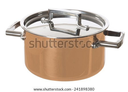 Shiny Saucepan isolated on white background - stock photo