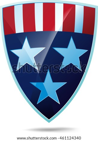Shiny shield decorated with stars and stripes USA flag heraldic colors