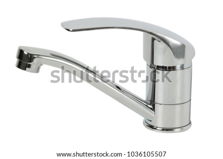 Shiny Silver Faucet Isolated on White Background