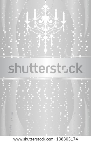 Shiny silver frame with chandelier - stock photo