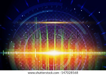 shiny sine waves technology background - stock photo