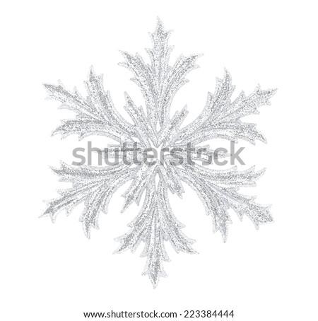 Shiny snowflake isolated on winter background - stock photo