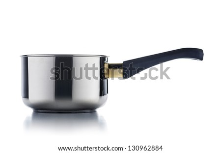 Shiny Stainless Steel Cooking Pot Isolated on White Background - stock photo