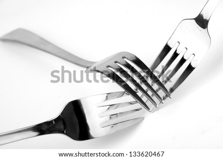 Shiny stainless steel forks on a white background