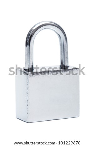 shiny stainless steel padlock on a white background - stock photo