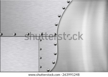 Shiny steel background. Copy space - stock photo