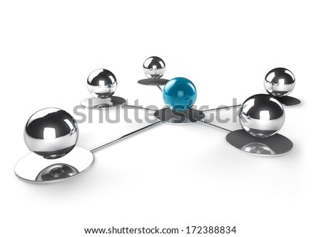 shiny steel spheres connected to a blue one - stock photo