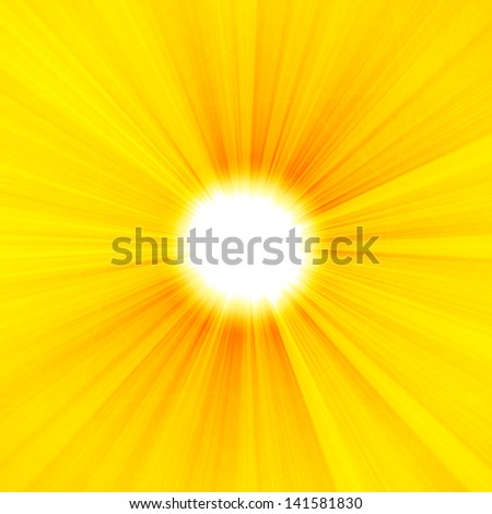 shiny sun beams, hot summer background, vibrant yellow background - stock photo