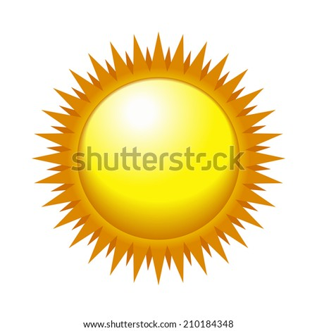 Shiny Sun in the Light Sky.  illustration - stock photo