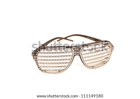 Shiny sunglasses on a white background