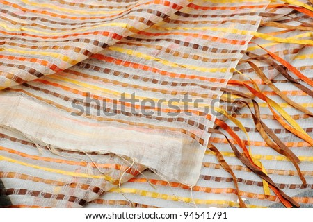 shiny vibrant geometric rug texture close up - stock photo