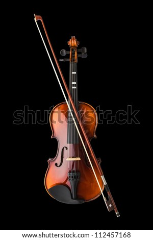 Shiny violin and bow isolated on black background - stock photo