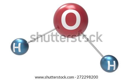 shiny water molecule 3d render - stock photo